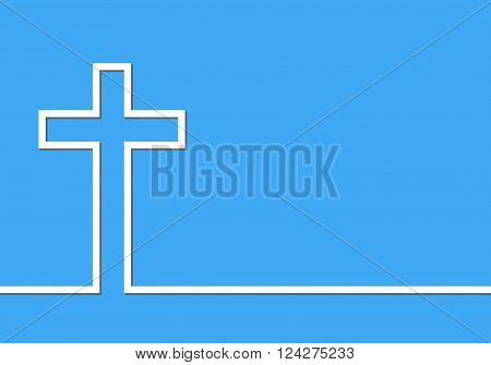 White cross icon - vector illustration. Simple Christian cross sign. White cross in line design on blue background.