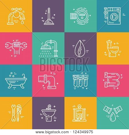 Vector collection of plumbing icons. Plumbing and handyman service symbols made in line style vector. Modern illistrations of pipe leak faucet fixing and other repair services. stock photo