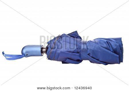 the blue closed umbrella isolated on white background stock photo