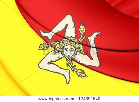 Flag Of Sicily, Italy.