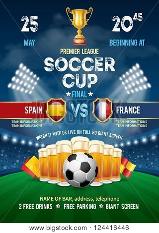 Poster with Soccer Ball and Beer on Stadium. Soccer Cup Advertising. Sport Event Announcement. Place