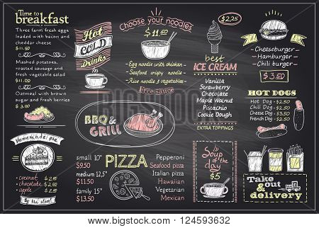 Chalk menu list blackboard design for cafe or restaurant, breakfast and lunch, fast-food and pizza,