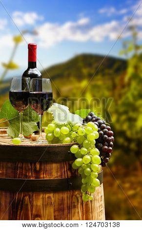 Red wine bottle and wine glass on wodden barrel. Beautiful Tuscany background-Lg Fridge Magnet Skin (size 36x65)