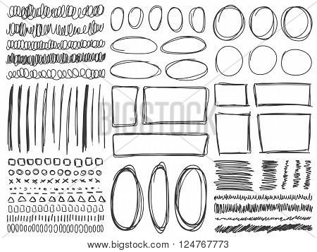 Doodle lines and curves vector. Set of simple doodle lines curves frames and spots. Pencil effect collection. Doodle borders. Set of simple doodles. Pencil effect sketch isolated on white.