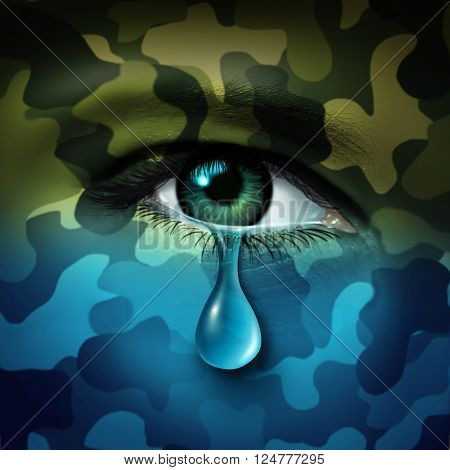 Military depression mental health concept and casualty of war symbol as a crying human eye tear with green camouflage transforming into a blue mood as a metaphor for veteran healthcare or combatant issues in a 3D illustration style. stock photo