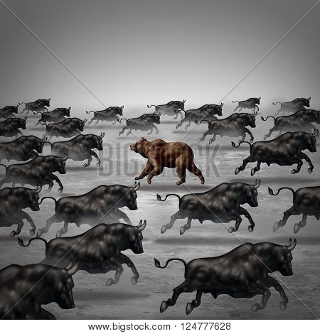 Against the current business concept as a different way to invest or going the opposite direction as a bear in a bull market metaphor for individual financial thinking and confidence in a contrary forecast. 3D stock photo