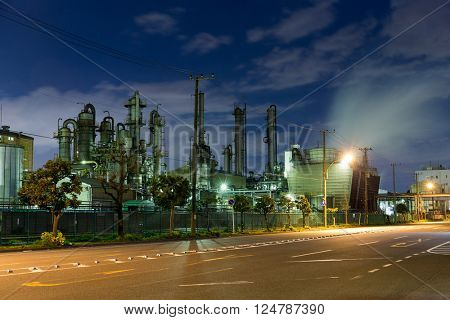 Oil refinery plant at night stock photo