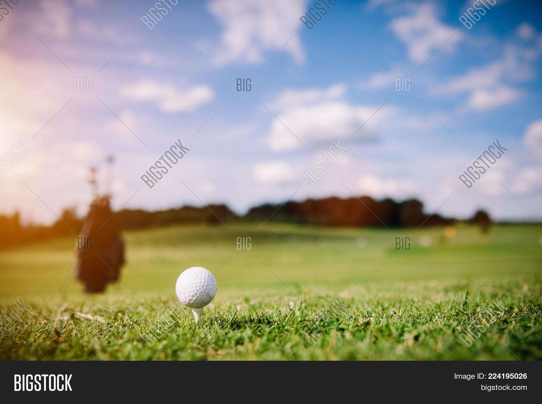White golf ball on a green grass. Golf course. Summer activities.