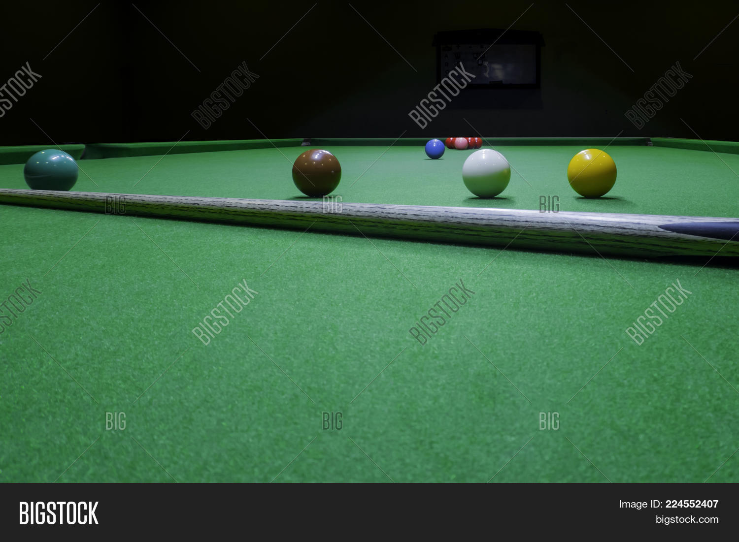 Snooker Balls And Wood Cue Sno 224552407 Image Stock Photo 224552407
