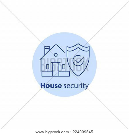 House burglary, break in home, security service, robbery prevention, intrusion protection, property insurance, shield, vector line icon stock photo