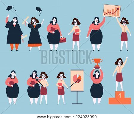 Steps to success of two woman friends. University graduation, search of work, working, graphics and analitycs. Final image are life winners on pedestal base with trophy. Rapid career growth. Feminism stock photo