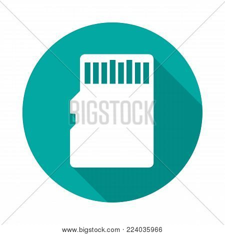 SD memory card circle icon with long shadow. Flat design style. Memory card simple silhouette. Modern, minimalist, round icon in stylish colors. Web site page and mobile app design vector element. stock photo