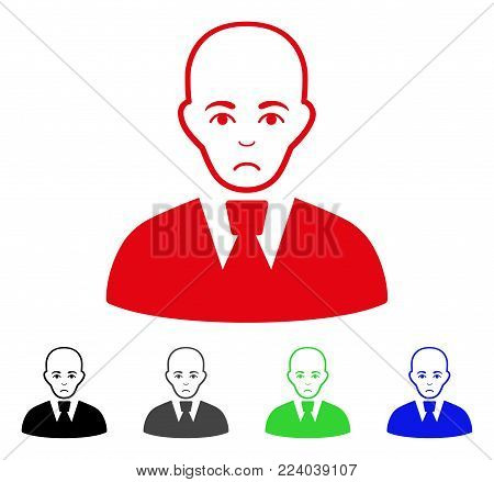 Sadly Bald Clerk vector pictograph. Vector illustration style is a flat iconic bald clerk symbol with gray, black, blue, red, green color versions. Face has affliction emotions. stock photo