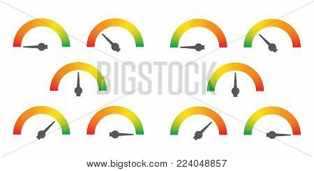 Meter signs infographic gauge element from red to green and green to red vector illustration stock photo