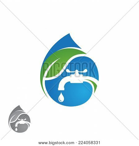 Water plumbing company logo vector concept. Negative space style logo design. Simple and stylish logotype. Water drop with pipe and water faucet. Vector illustration EPS.8 EPS.10 stock photo