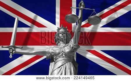 Cover about Law. Statue of god of justice Themis with Flag of United Kingdom background. Original Statue of Justice. Femida, with scale, symbol of justice with United Kingdom flag 3d rendering. stock photo