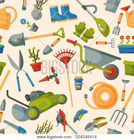 Garden tool vector gardening equipment rake or shovel and lawnmower of gardener farm collection or farming set illustration seamless pattern background. stock photo