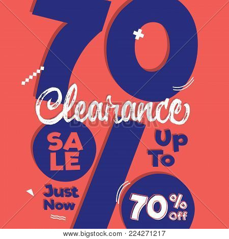 Vol. 4 Clearance Sale blue pink 20 percent heading design for banner or poster. Sale and Discounts Concept. Vector illustration. stock photo