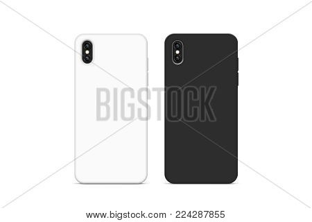 Blank black and white phone case mock up, stand isolated, 3d rendering. Empty smartphone cover mockup ready for logo or pattern print presentation. Cellphone protector cover concept. Cell casing stock photo
