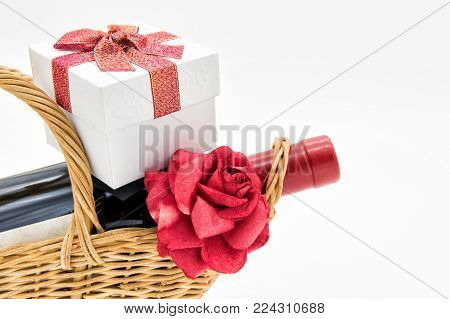 Red money envelopes or angpow with golden ingots coins isolated on white background with copy space for text. 2018 Chinese dog new year. Languages on envelope mean Happiness and on ingot mean Wealthy. stock photo