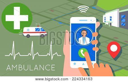 Emergency call concept illustration. Ambulance car, hands dialing number ambulance service operator, hospital building. Modern flat style design stock photo