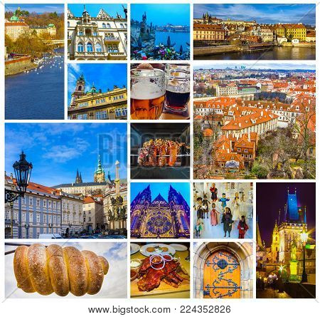 The aerial view of roofs at old town Prague, Czech republic stock photo