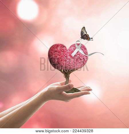 White ribbon awareness on red love heart tree for International Day for the Elimination of Violence against Women concept stock photo