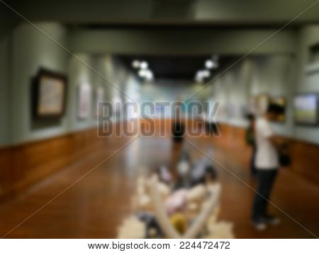 art gallery interior. contemporary art center. blur or defocus image for background usage stock photo