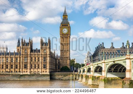 London city travel holiday background. Big Ben and Houses of parliament with Westminster bridge in L