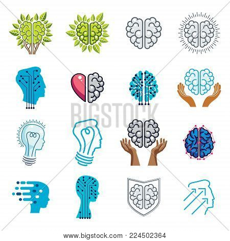 Brain and intelligence vector icons or logo concepts set. Artificial Intelligence, Bright Mind, Brain Training, Feelings soul versus Rational thinking, Creativeness, Brainstorming, Mental Health. stock photo
