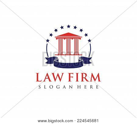 this is vector logo design illustration perfectly for branding like law firm business, attorney, advocate, court justice and everything related stock photo