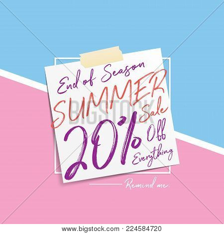 Summer Sale V6 20 percent heading design note pad on pastel background for banner or poster. Sale and Discounts Concept. Vector illustration. stock photo