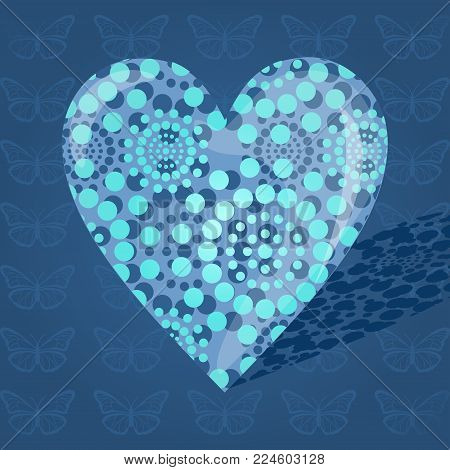 Blue bulky heart made of dots on a blue background stock photo