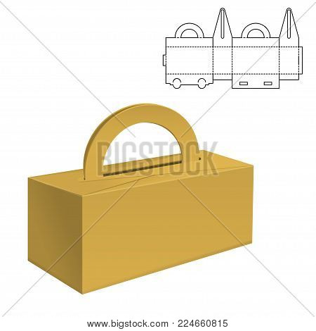 Vector Illustration of Diecut Craft Box for Design, Website, Background, Banner. Retail Folding package Template. Fold pack with dieline for your brand on it stock photo