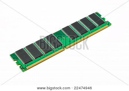 SDRAM module chip isolated over white background stock photo
