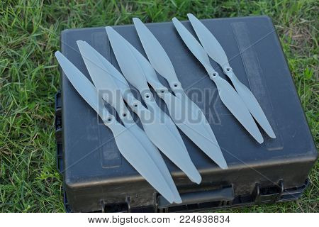 Spare Drone propellers for multirotor fpv rc aircraft stock photo