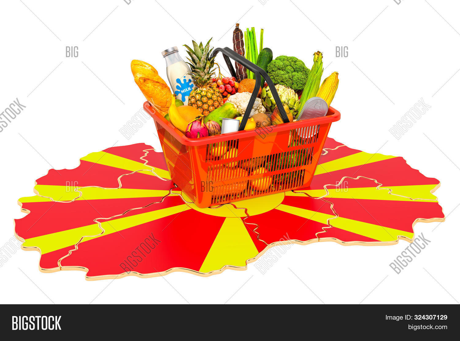 Market Basket Or Purchasing Power In Macedonia Concept. Shopping Basket With Macedonian Map, 3d Rend