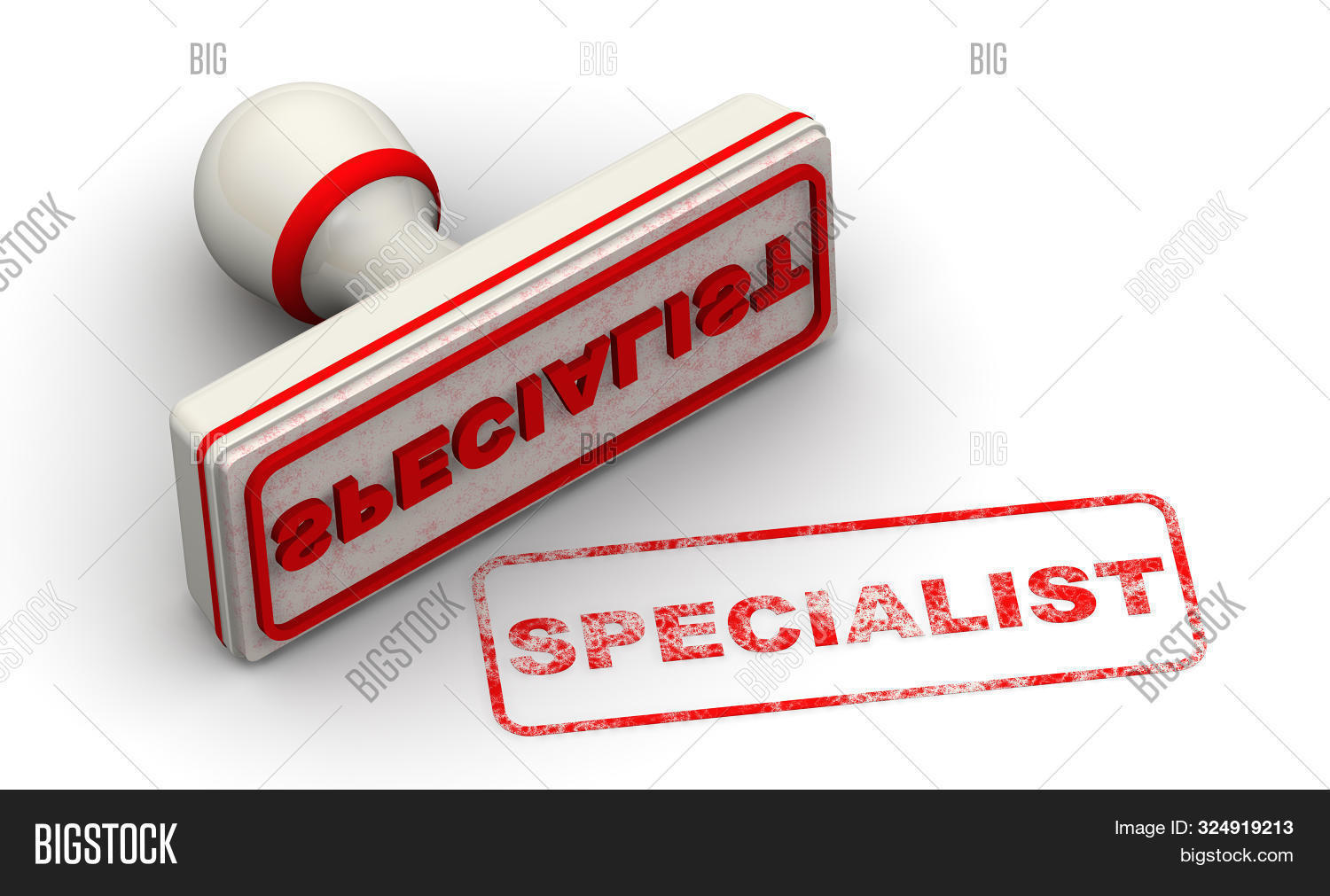 Specialist. Seal And Imprint. The Seal With Red Word Specialist On White Surface. Isolated. 3d Illus