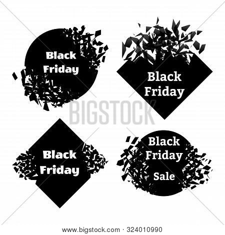 Black Friday. Set of explosions with the inscription. Sales concept on black friday. Vector illustration stock photo
