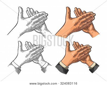 Man clapping hands, applause sign. Vector vintage engraving stock photo