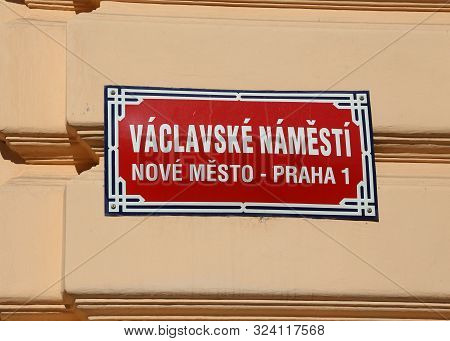 Street Sign on the wall in Prague City in Czech Republic in Central Europe that means Wenceslas Square in czech language stock photo