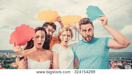 Gender equality and communication. People speak using speech bubbles. Friends send messages on comic bubbles. Group communication pleasure. Communication occurs through speech balloons, copy space stock photo