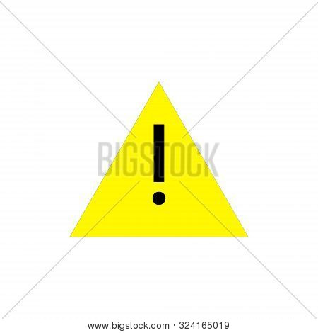Attention pictogram. Yellow triangle with exclamation mark. Alert icon. Vector illustration isolated on white background stock photo