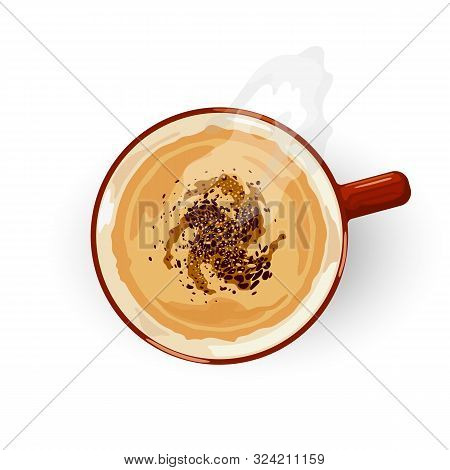 Aromatic, invigorating, eye opened coffee with foam in red porcelain cup. Top view. Latte, Cappuccino or Espresso. Brown drink giving energy and joy. Vector cartoon illustration isolated on white. stock photo