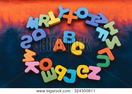 Colorful ABC Letters of Alphabet made of wood stock photo