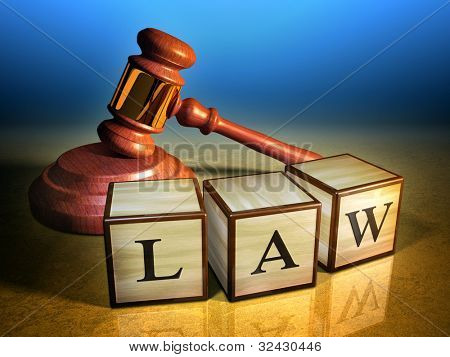 Some wooden cubes forming the word law, in front of a gavel. Digital illustration. stock photo