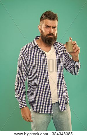 Bearded man. Facial hair and shaving. brutal caucasian hipster with moustache. Choosing perfume. Hair and beard care. Male fashion. Mature hipster with beard. Enjoying morning routine. stock photo