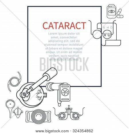 Eye therapy, cataract treatment, glaucoma vector banner. stock photo