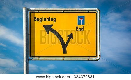 Street Sign the Direction Way to Beginning versus End stock photo