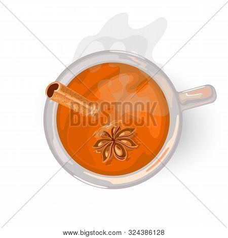 Hot golden drink with clove for breakfast or afternoon. Yellow, oolong tea. Flavoured masala chai with a mixture of aromatic spices and herbs. Vector cartoon illustration isolated on white. Top view. stock photo